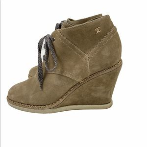CHANEL Suede Calfskin Lace Up Wedge Booties 40.5